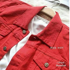 Jaket Jeans Colour Zara Red Hot