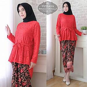 1). Tk Kebaya Brukat Khelly Red