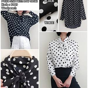 Soya Polka Shirt with Bow Detail