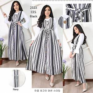 Overall Rok kancing Stripes