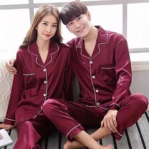 couple piyama korea maroon