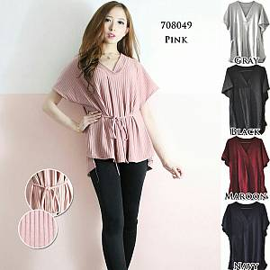 BLOUSE V NECK DROP NEEDLE