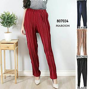Warna maroon sj. Celana loose trouser plisket