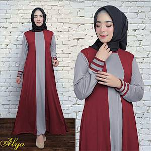 1). 46-Alya dress Maroon (REAL PICT)