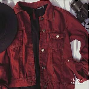 Jaket Jeans Colour Zara Maroon grosir