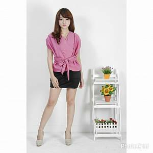 Blouse Kimono Tali Depan Pink