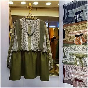 blouse kombinasi bunga rempel