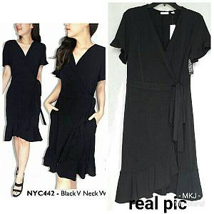 V nexk ruffle dress