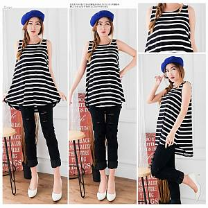 Black white stripe top