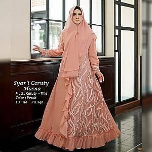 Tk Syari Ceruty Hasna Peach