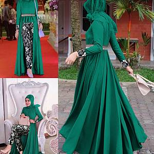 LVR SET Mafaza Hijau Batik Set