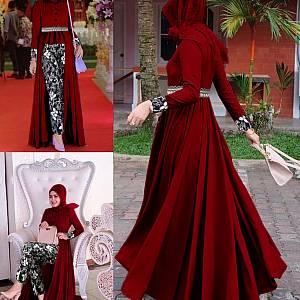 LVR SET Mafaza Maroon Batik Set