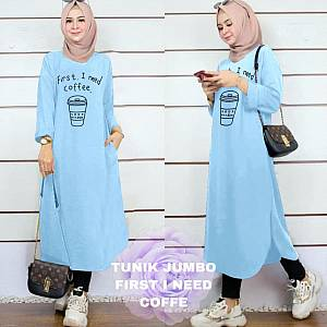 Lvr Tunik Jumbo First I Need Coffe Blue