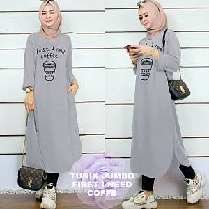 Lvr Tunik Jumbo First I Need Coffe Grey