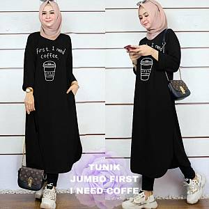 Lvr Tunik Jumbo First I Need Coffe Hitam
