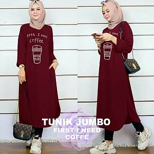 Lvr Tunik Jumbo First I Need Coffe Maroon
