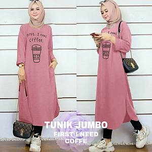 Lvr Tunik Jumbo First I Need Coffe Dusty