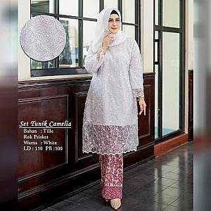 TK1 Set Tunik White Camelia