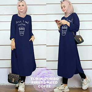Lvr Tunik Jumbo First I Need Coffe Navy