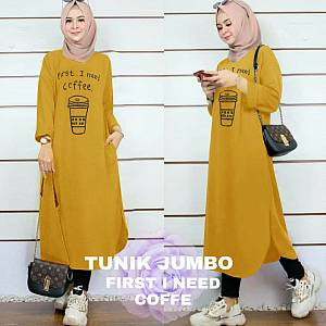 Lvr Tunik Jumbo First I Need Coffe Mustard