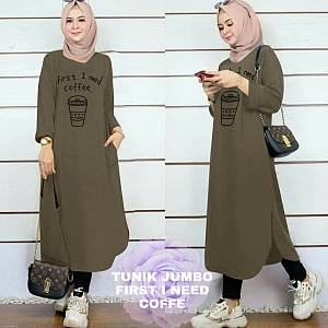 Lvr Tunik Jumbo First I Need Coffe Army