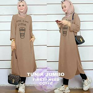 Lvr Tunik Jumbo First I Need Coffe Mocca
