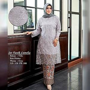TK1 Set Tunik Grey Camelia