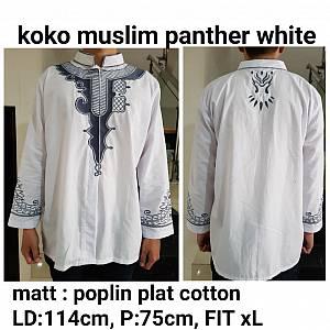 Koko muslim panther bordir putih