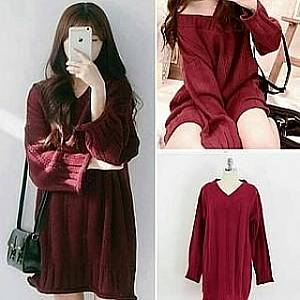 C2 dress rajut marun