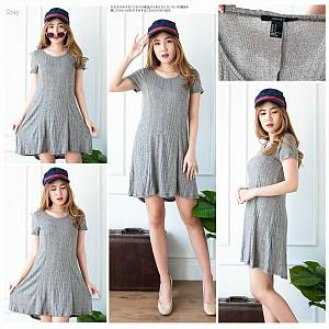 Grey knitted mini dress