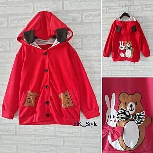 Jaket Hodie kid Bear Bunny (Merah)