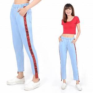 Celana Jogger Jeans List Merah Off White