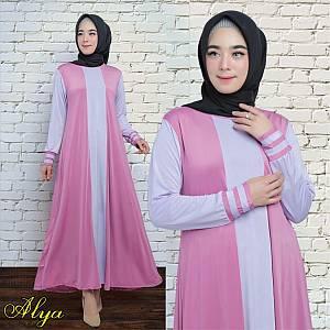 1). 46-Alya dress Ungu (REAL PICT)