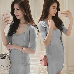 M2 dress 2 in 1 grey dress