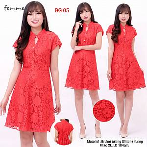 Marylin dress brokat tulang import