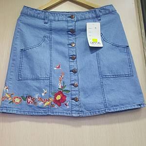 DLine Skirt 7 Buttons - Light Blue