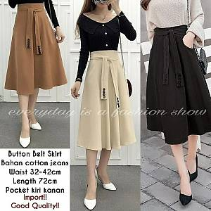 Pm button belt skirt