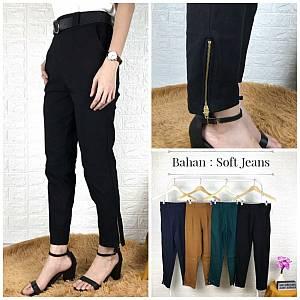 Celana seleting bahan soft jeans