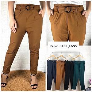 Celana tali gesper soft jeans