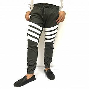Celana Stripes jogger hijau army