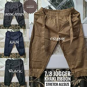 Jogger Khaki Ribbon Stretch Allsize