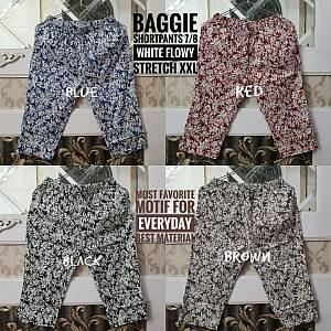 Baggie Shortpants 7-8 White Flowy Stretch XXL