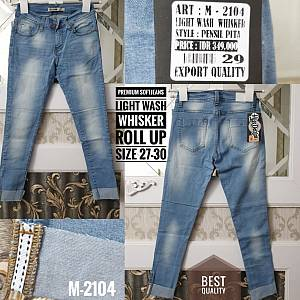 Premium Softjeans Light Wash Whisker Roll Up Size