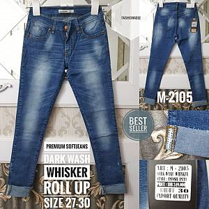 Premium Softjeans Dark Wash Whisker Roll Up Size 2