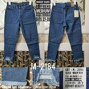 Baggy Boyfriend Medium Wash Jeans Rumbai Size 27-3