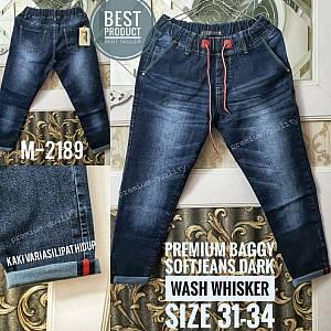 Premium Baggy Softjeans Dark Wash Whisker Size 31-