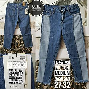 Baggy Jeans Two Tone Medium Wash Size 27-32
