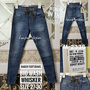 Baggy Premium Pants Bio Wash Whisker Roll Up Size