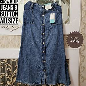 Washed Jeans Snow Blue Skirt 8 Button