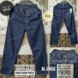 Premium Washed Fashion Boyfriend Dark Wash Button Size 27-30